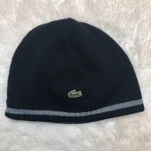 Lacoste Reversible Winter Hat Black & Grey